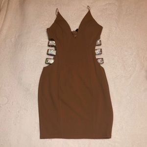 Windsor Tan Cut Out Dress with Rhinestones